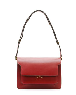 Marni Flap Top Leather Shoulder Bag, Dark Red