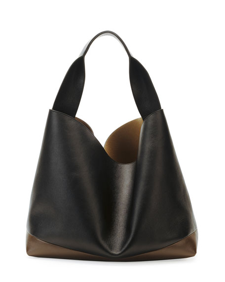Tricolor Leather Hobo Bag, Nude/Dark Gray