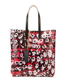 Marni Flower-Print PVC Shopping Bag, Raspberry
