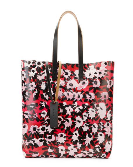 Flower-Print PVC Shopping Bag, Raspberry