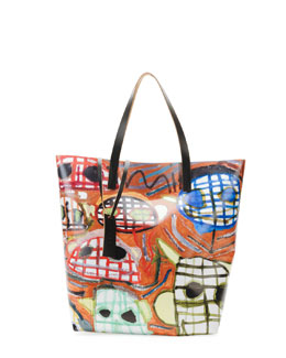 Marni Face-Print PVC Shopping Bag