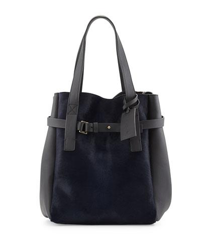 Marni Calf Hair & Leather Tote Bag, Navy/Dark Gray