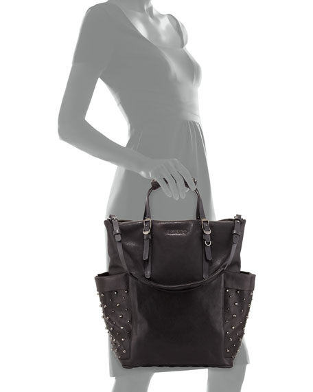 Blare Studded Glossy Leather Tote Bag, Black