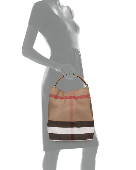 443978c6a686 Burberry Brit Asby Medium Check Canvas Bucket Bag