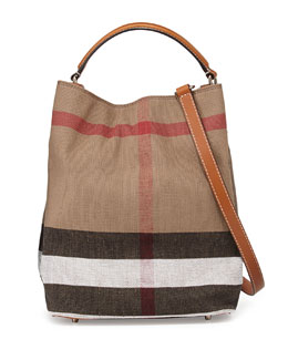 Burberry Brit Medium Check Canvas Bucket Bag