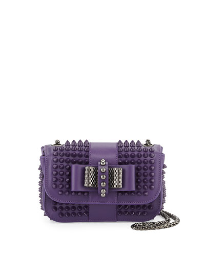 Christian Louboutin Sweet Charity Small Spiked Crossbody Bag, Violet