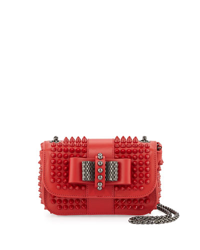 Christian Louboutin Sweet Charity Small Spiked Crossbody Bag, Red