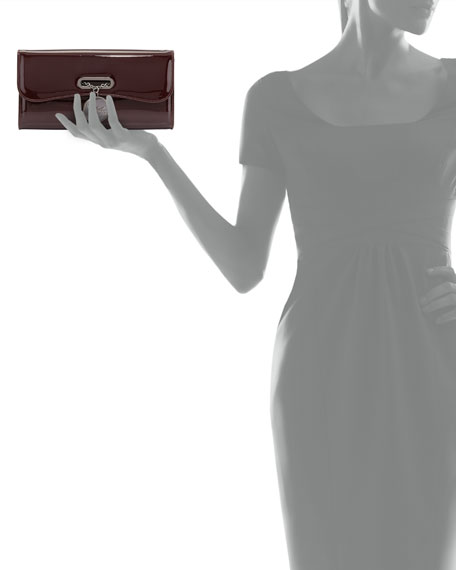 Riviera Patent Clutch Bag, Bordeaux