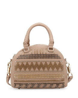 Christian Louboutin Panettone Small Chevron Satchel Bag, Beige Multi