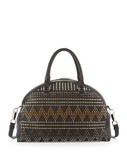 Christian Louboutin Panettone Large Spike Stud Satchel Bag, Black