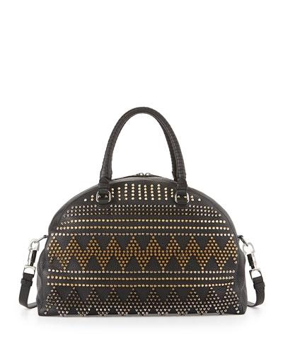 Christian Louboutin Panettone Large Spike Stud Satchel Bag, Black