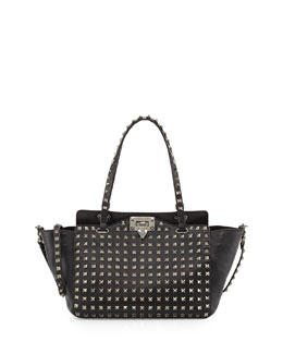 Valentino Noir Rockstud Mini Leather Studded Tote Bag, Black