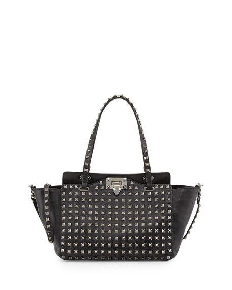 Noir Rockstud Mini Leather Studded Tote Bag, Black