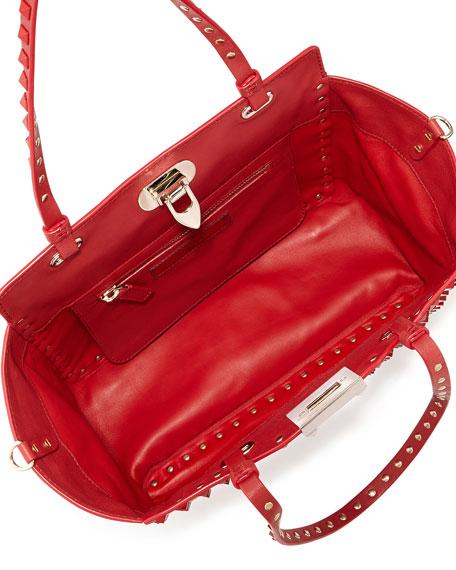 Rockstud Mini Leather Studded Tote Bag, Red