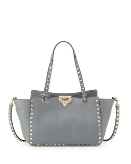 Valentino Rockstud Mini Tote Bag, Gray