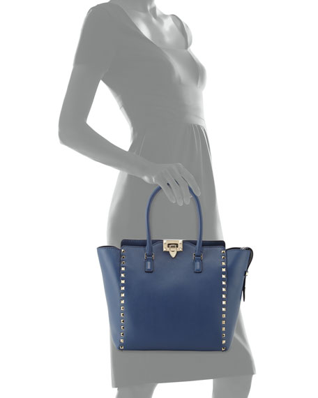 Rockstud Medium Shopper Bag, Blue