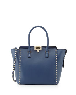 Valentino Rockstud Medium Shopper Bag, Blue
