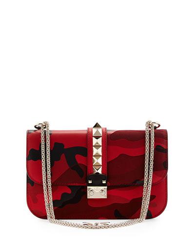 valentino medium camo rockstud lock bag red. Black Bedroom Furniture Sets. Home Design Ideas