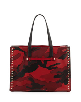 Valentino Rockstud Camo Canvas-Leather Medium Soft Tote Bag, Red