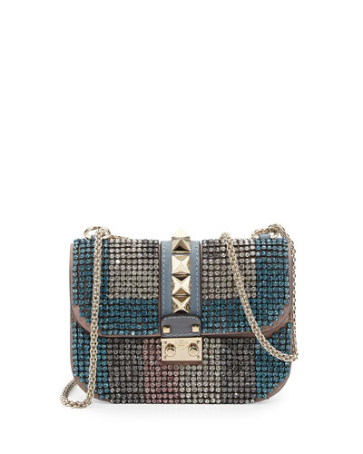 Valentino Glam Lock Crystal Shoulder Bag, Blue
