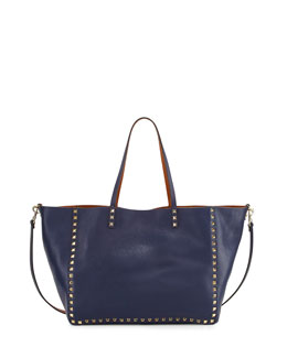 Valentino Rockstud Reversible Double-Sided Tote Back, Blue/Brown