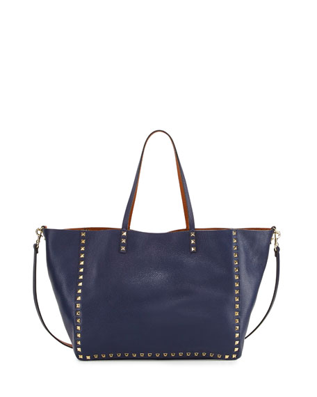 Valentino Rockstud Reversible Double-Sided Tote Bag, Blue/Brown