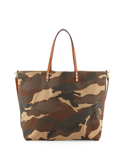 Valentino Camo Patchwork Canvas Easy Tote Bag, Camel/Taupe