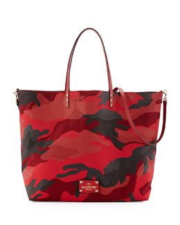 Valentino Camouflage Reversible Tote Bag, Red/Black
