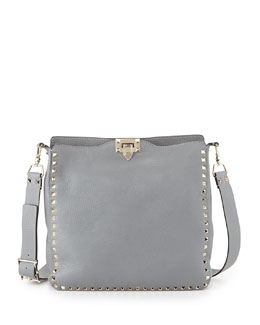 Valentino Rockstud Pebbled Leather Messenger Bag, Gray