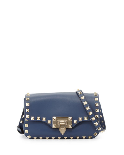 Valentino Rockstud Leather Studded Mini Crossbody Bag, Blue