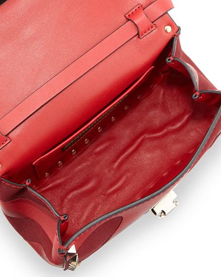 Camo Patchwork Crossbody Bag, Red/Dark Purple