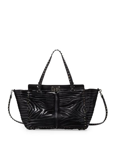 Noir Calf Hair Rockstud Tote Bag, Black