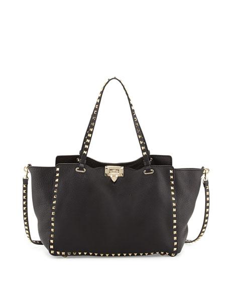 Valentino Rockstud Pebbled Tote Bag, Black