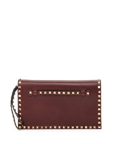 Valentino Rockstud Leather Flap-Top Clutch Bag, Bordeaux