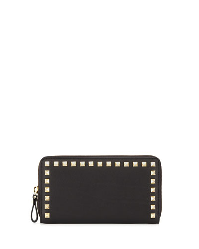 Rockstud Continental Zip Wallet, Black