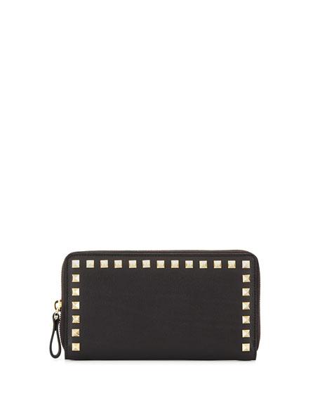 Valentino Rockstud Continental Zip Wallet, Black