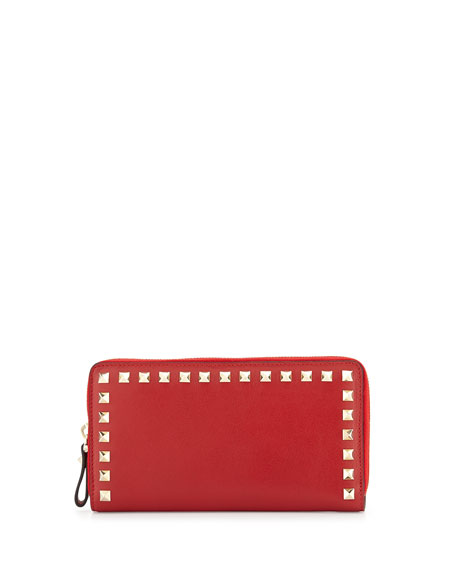 Valentino Rockstud Continental Zip Wallet, Red