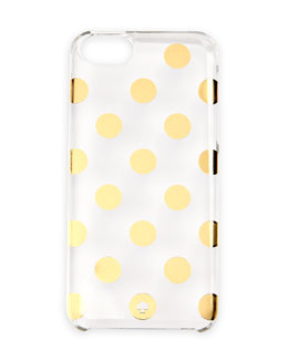 kate spade new york le pavillion polka-dot resin iPhone 5 case, clear/gold