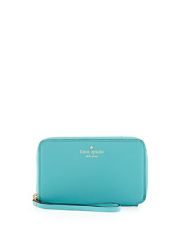 kate spade new york cherry lane laurie wristlet wallet, tropic blue