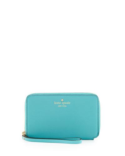 kate spade new york cherry lane laurie wristlet wallet, tropic blue