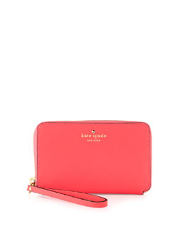 kate spade new york cherry lane laurie wristlet wallet, surprise coral