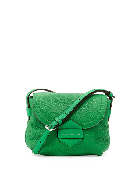 Half Pipe Pebbled Crossbody Bag, Fresh Grass