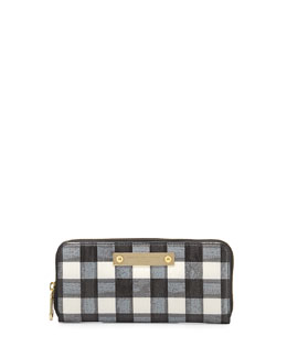 MARC by Marc Jacobs Goodbye Columbus Brush-Check Slim Zip Wallet, Black/White