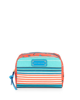 MARC by Marc Jacobs Striped Large Cosmetic Pouch, Aqua Lagoon Multi