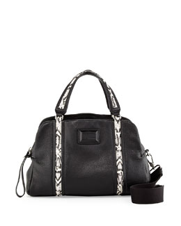 MARC by Marc Jacobs Classic Q Snake-Print Trim Satchel Bag, Black