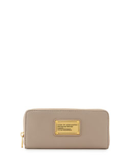 MARC by Marc Jacobs Classic Q Slim Zip Around Wallet, Cement