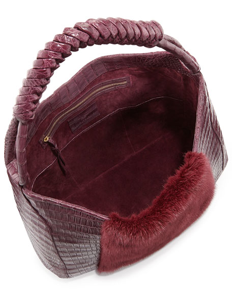 Mink Fur & Crocodile Hobo Bag with Braided Strap, Bordeaux