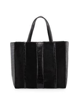 Nancy Gonzalez Crocodile & Calf Hair Shopper Tote Bag, Black
