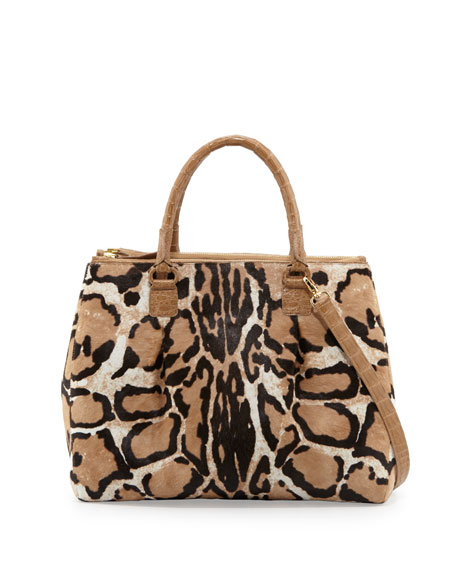 Double-Zip Leopard-Print Calf Hair Tote