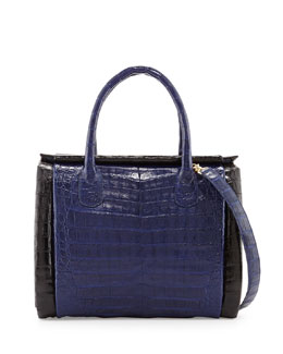 Nancy Gonzalez Crocodile Medium Boxcar Bag, Navy/Black